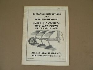 Allis Chalmers Hydraulic Control Two Way Plows Owners Manual Repair Parts List