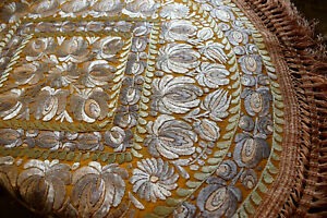 Antique Silk Hand Embroidered Unique Matyo Round Embroidery 87cm 34 25