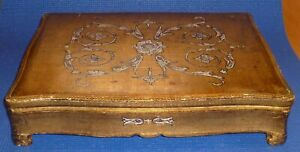 Large Florentine Florentia Pf Italy Gilded Gilt Footed Wood Jewelry Trinket Box