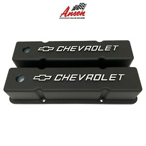 Small Block Chevy Sbc Tall Chevrolet Logo Bowtie Aluminum Black Valve Covers