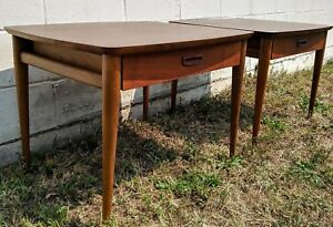 2 Lane Altavista Mid Century Walnut Drawer Side Tables Walnut Laminate Top