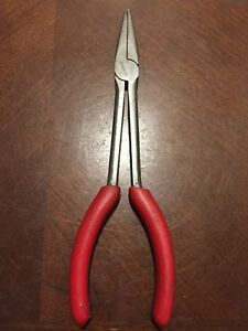 Snap On Tools Usa 8inch Long Soft Grip Needle Nose Pliers Red Handle Stork Reach