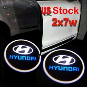 2pcs Wirless Ghost Laser Projector Logo Cree Led Door Courtesy Light For Hyundai