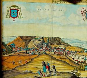 Antique 1600s Hand Colored Stone Litho Panoramic European Landscape Reduced