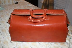 Antique Cognac Cowhide Leather Doctors Bag Vintage Medical Carry Satchel Dr Bag