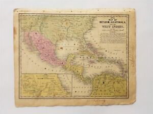 1839 Antique Map Mexico Guatimala West Indies Amie Mccall Mitchell S Atlas Ct