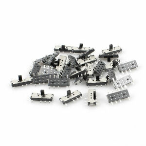 30 Pcs On off on 3 position 8 Pin Dpdt 2p2t Vertical Micro Smd Smt Slide Switch
