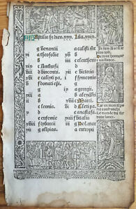 Book Of Hours Leaf Vostre Horae Woodcut Border Calendar April May Paris 1501