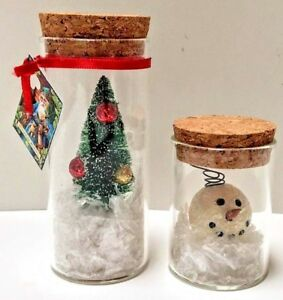 Little Bit Of Christmas Jars 2 Pc Set Handmade Bottle Brush Tree Snowman