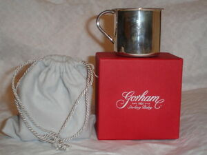 New Gorham Sterling Silver Beautiful Baby Cup Childs 925 With Box Bag 51 G