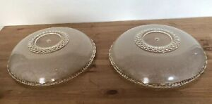 Vintage Matching Pair Pan Glass French Shades Chandelier Or Sconce Etched 14 D
