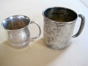 2 Sterling Silver Baby Cups By Towle And By Whiting Manufacturing Co N Y C