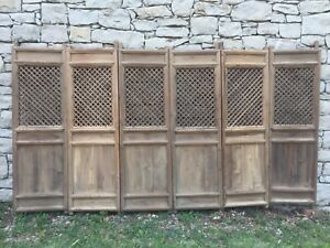 Rare Set Of 6 Chinese Antique Carved Wooden Panel Screen Doors Or Room Divider