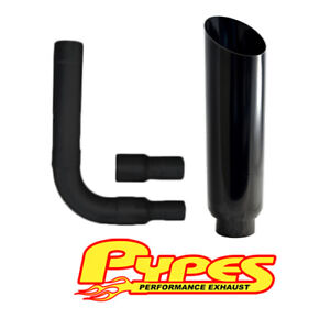 Ford Truck 6 0 Powerstroke Super Duty Diesel 10 Miter Cut Pypes Black Stack Kit