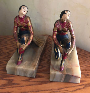 Antique Art Deco Gerdago Lady Woman Statue Sculpture Set Marble Bookends