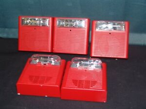 Lot Of 5 Cooper Wheelock As 24mcw Fire Alarm Strobe Tested