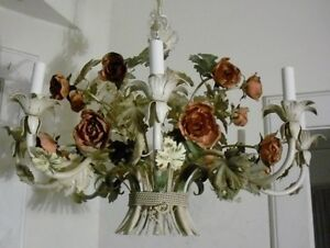 Rare 8 Light Vintage 1950 S 60 S Tole Chandelier With Roses
