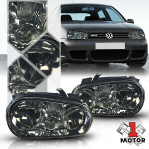 Chrome Housing Smoke Tinted Lens Headlight Projector Fog For 99 06 Vw Golf Mk4