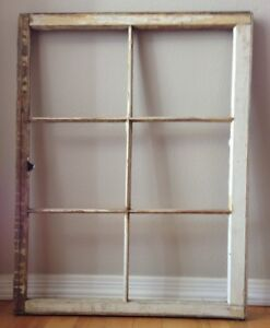 Old Vintage Antique Shabby Chic 6 Pane Wooden Window Frame No Glass Rustic Decor
