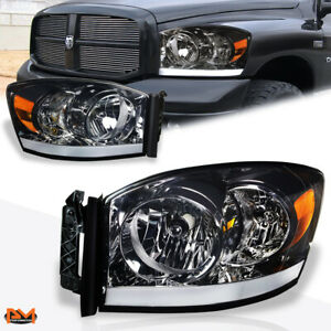 For 06 09 Dodge Ram Pickup Smoked Lens Amber Corner Headlight Lamp W Led Drl