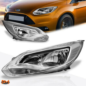 For 12 14 Ford Focus Chrome Housing Clear Corner Headlight Lamp Set Replacement