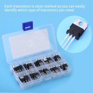 60pcs 10 Values L7805 lm317 3 pin Transistor Assortment Kit Set With Storage Box