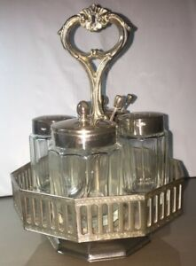 Antique Condiment Caddy Silverplated Shakers Jelly Jars Replated By Gorham