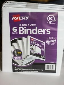 Avery Durable View Binder Slant Rings Letter 1 2 Capacity White 6pk
