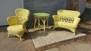 Antique Heywood Wakefield Wicker Loveseat Chair And Table Set