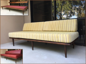 Mid Century Modern Solid Walnut Platform Daybed Sofa 75 L W Red Vinyl Covers