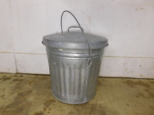 Vintage Smaller Galvanized Trash Can W Handle Locking Lid Ash Coal Feed Bucket
