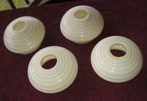 4 Vintage Art Deco White Cascading Ribbed Glass Ceiling Light Shades Code H