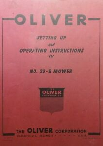 Oliver 22 b 3 point Sickle Mower Operators Set Up Service Minor Parts Manual
