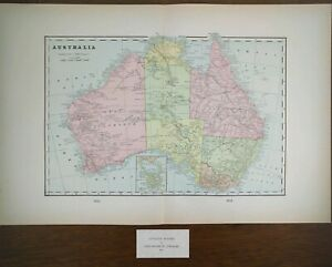 Vintage 1901 Australia Map 22 X14 Old Antique Original Canberra Melbourne Mapz
