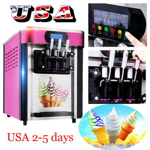 Desktop Automatic Drum Led Soft Ice Cream Making Machine 3flavor Stainless Steel