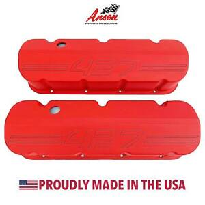 Big Block Chevy 427 Outline Valve Covers Red Die cast Aluminum Ansen Usa