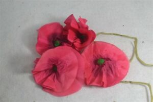 Flowers Leaves Millinery Trim Hat Clothes Pink Silk Poppies Victorian Antique