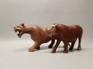 Wooden Carved Big Cat Figure Pair Cheetah Leopard