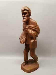 Large 16 Wooden Man Statue Made In Equadore Folklore Hand Carved Wood