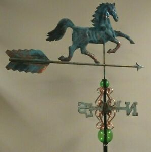 Unique Antiqued Finish Large Copper Horse Weathervane Sold As Shown