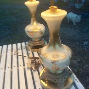 Midcentury Italian Modern Hollywood Regency Gold White Decorative Glass Lamps