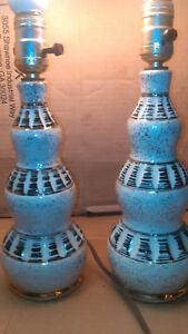 Pair Midcentury Modern Ceramic 1950 S Gold Highlight Textured Design Table Lamps