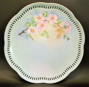 Vintage Hand Painted Cake Plate Blue Pink Roses Reticulated Porcelain Signed