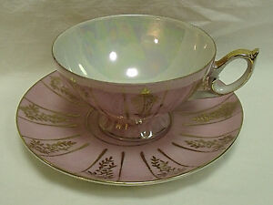 Pink Footed Teacup Saucer Sterling Fine China Opalescent Gold Floral Designs