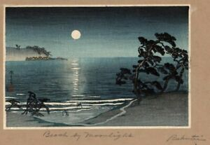 Japanese Rukutai Woodblock Print Beach By Moonlight