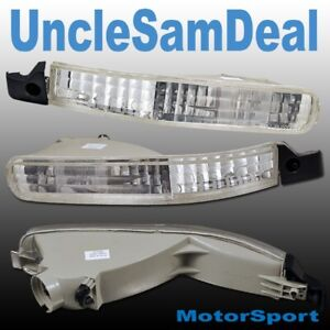 For 92 93 Honda Accord Front Bumper Clear Corner Signal Lights Chrome Pair