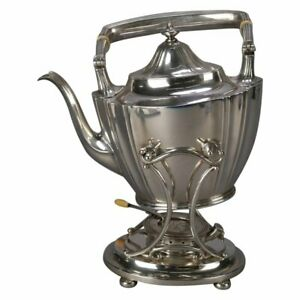 J E Caldwell Sterling Silver Teapot On Warming Stand With Burner 20th Century