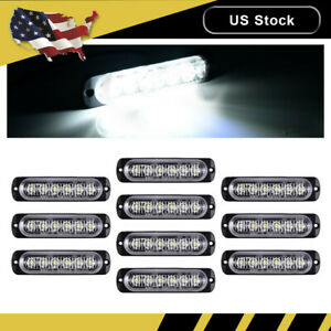 10x White Car 6 Led Emergency Strobe Light Kit Bar Marker Flash Warning Lamp Set