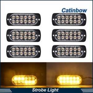 6pcs Amber 12 Led Bulb Emergency Strobe Flash Lights Bar Truck Hazard Beacon