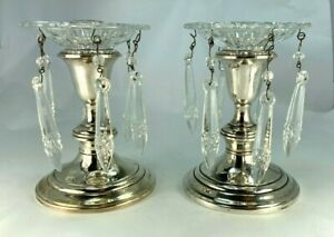 Vintage Gorham Sterling Silver Candlesticks With Crystal Lusters